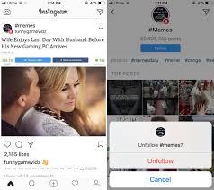 Meme Hashtags - how to follow hashtags on instagram