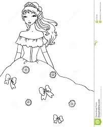 princess coloring page stock photo image 8789490