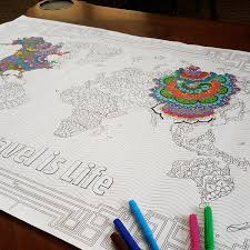 world map coloring poster for kids u0026 adults by travel is life
