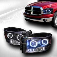 halo headlights for dodge ram 1500 black drl led 2 halo rims projector lights lamps signal 2006