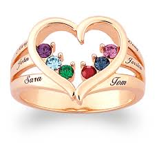 mothers day ring with birthstones mothers birthstone heart name ring gemstonepro