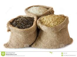 uncooked rice in small burlap sacks stock photos image 19797163