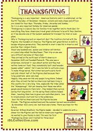thanksgiving reading for pre intermediate