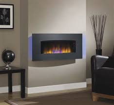 Infrared Heater Fireplace by Classicflame Silver Transcendence Fire Display Black Wall Mount