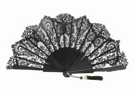 lace fan black blond lace fan for ceremony ref 1468