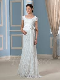 Pregnancy Wedding Dresses Cap Sleeves Lace Ribbon Trumpet Mermaid Pregnant Wedding Dress