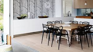 24 dining room ideas iot0115hbayv 05 thrum home pittwater dining room tree wallpaper black chairs white timber floorboards