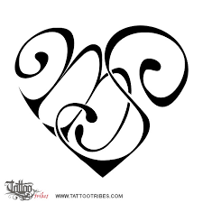 tattoo of m s heart bond affection tattoo custom tattoo