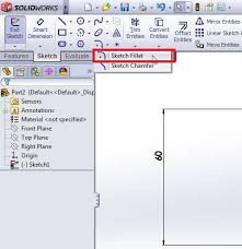 how to use solidworks sketch fillet tool