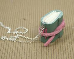 pink leather necklace images Mini book necklace green and pink leather hand bound book jpg