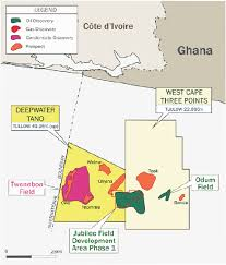 Map Of Ghana Offshore Map Of South Western Ghana Showing The Location Of