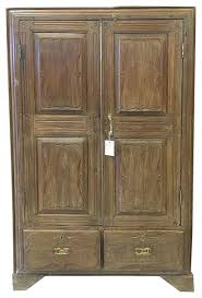 Wood Armoire Wardrobe Consigned British Colonial Teak Almirah Rustic Old Wood Armoire