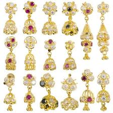 jhumki style earrings in gold 22ct yellow gold earrings jhumka style with cz stones bundle 02