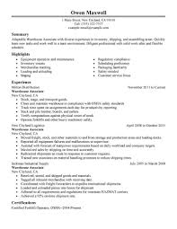warehouse resume objective samples u2013 template design