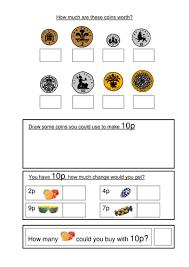 coin identification worksheet money worksheets ks1 coin recognition change and problem solving