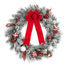home accents 30 in flocked pine artificial wreath with