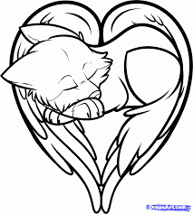 cute wolf drawings with hearts coloring pictures get coloring pages