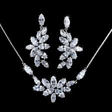 white flower marquise cut swiss cubic zirconia diamond necklaces