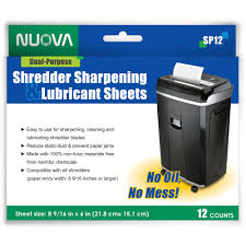 nuova sp12 shredder sharpening and lubricant sheets 12 count