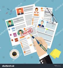 Resume Vector Cv Concept Resume Photo Documents Employment Stock Vector