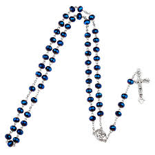 catholic rosary necklace blue glass bead catholic rosary necklace religious