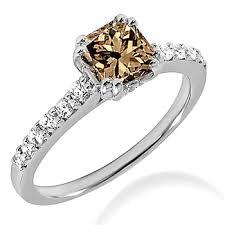 brown diamond engagement ring 0 92ct princess cut chagne brown diamond engagement ring