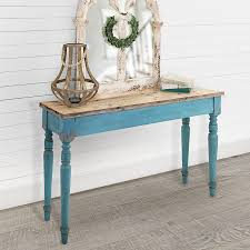 Cottage Sofa Table Distressed Weathered Chippy Rustic Wooden Wood Console Table