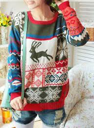 how does it take to knit a sweater sleeve deer printed knit sweater oasap com