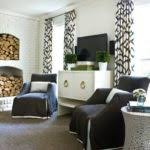 Melanie Turner Interiors Black And White Drapes Living Room Melanie Turner Interiors Grab