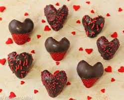 chocolate dipped strawberry hearts