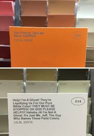 funny paint names some guy renamed the paint colors at a hardware store and it s