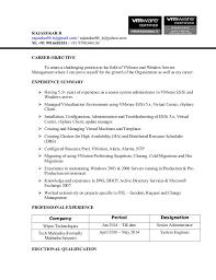 System Administrator Resume Sample by Rajasekar Resume Vmware Administrators