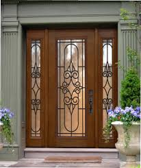 beautiful front entry door with black trellis and wooden frames