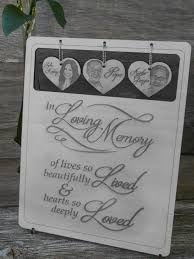 8 x 10 hanging heart photo memorial sign laser cut wood and