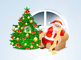 shiny tree with ornaments and illustration of santa claus