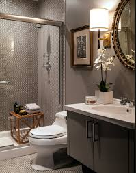 Dark Gray Bathroom by White Penny Tile Dark Grout Barbara Barry Refined Rib Sconce