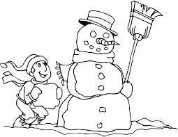 boy and snowman coloring pages to print winter coloring pages of