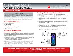 arris modem lights sb6121 arris sb6121 quick start guide user manual 2 pages