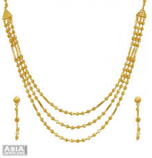 yellow gold necklace sets images 22k 3 layered ball necklace set ajns55186 22k yellow gold hand jpg