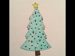 drawing how to draw a simple christmas tree cartoon kids can