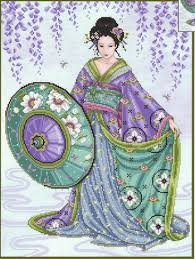 joan elliott blue geisha cross stitch pattern 123stitch