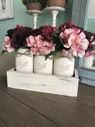 jar centerpiece jar centerpiece with distressed white box and jars and pink