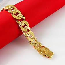 fine jewelry gold bracelet images Best 2015 fashion 24 k gold plated bracelets men women couple jpg