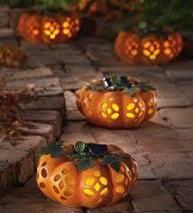 Lighted Ceramic Halloween Decorations by Solar Powered Jack O U0027lantern Halloween Decoration