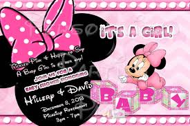 cute baby minnie mouse baby shower invitations saflly free