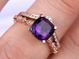 amethyst wedding rings 2pcs amethyst wedding ring set cushion amethyst engagement ring
