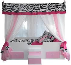 Zebra Valance Curtains White Wooden Canopy Beds Having Pink Wooden Storage And Stair With
