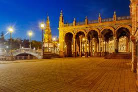 pictures spain town square seville spanish square bridges night