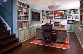 Office Area Rugs Dual Office Desk Home Office Transitional With Area Rug Blue Walls