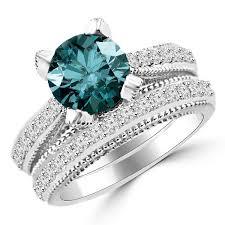 blue diamond wedding rings 2 73ct blue diamond bridal vintage style engagement ring set
